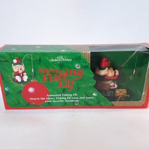 Vintage 1992 Merry Fishing Elf Fishes for Ornament